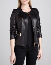 HOT Women Genuine Lambskin Real Leather Motorcycle Slim fit Biker Jacket - FD - $109.99