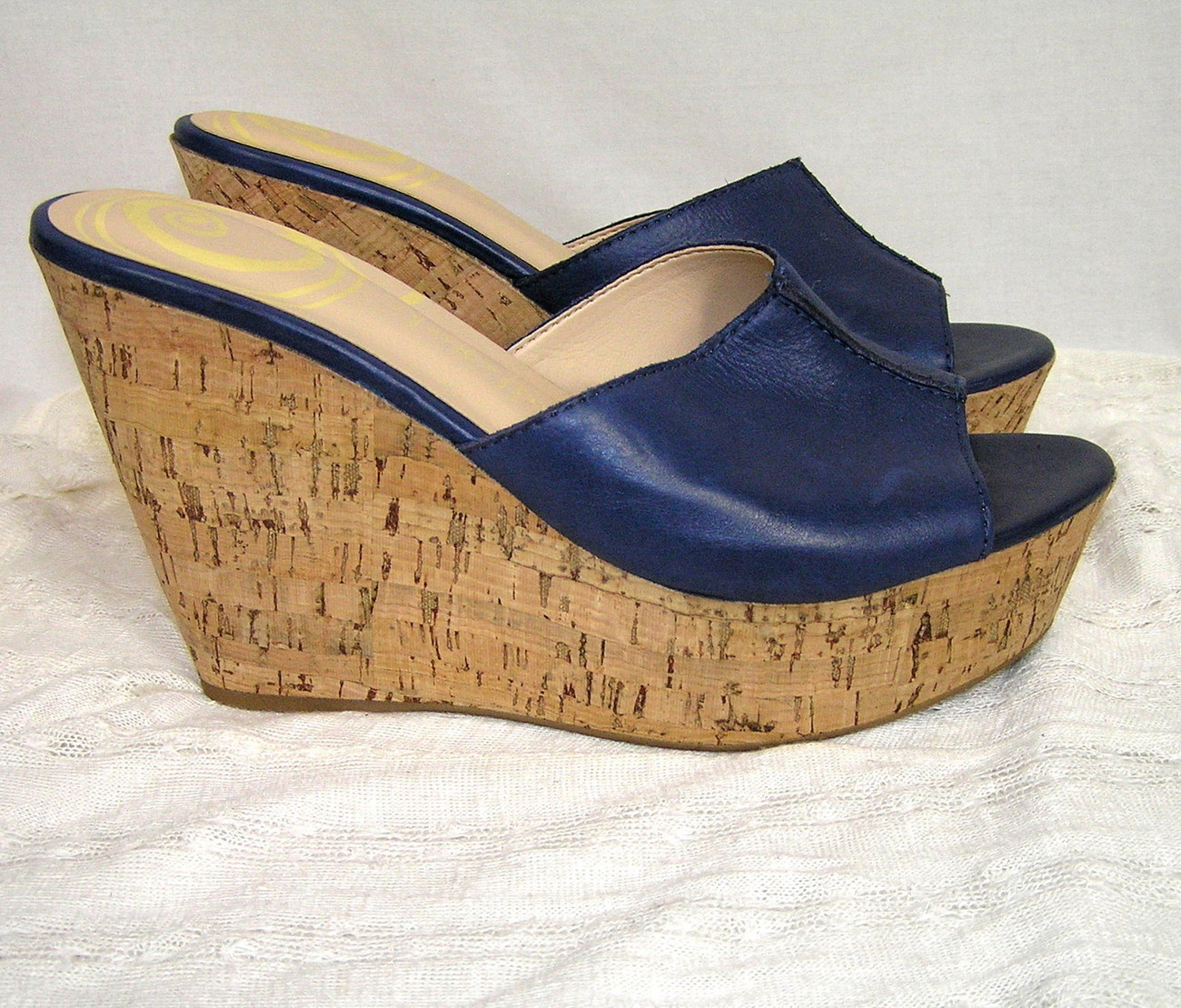 Primary image for NWOB Gabriella Rocha Quandra Navy Blue Leather Sandals Cork Wedge Platform Heel