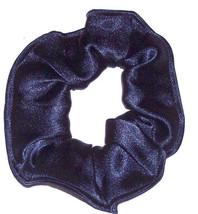 Navy Blue Satin Hair Scrunchie Scrunchies by Sherry Ponytail Holder Tie - $6.99