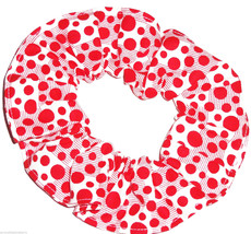White with Red Polka Dots Blocks Fabric Hair Scrunchie Scrunchies by Sherry  - $6.99
