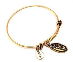 Bella Ryann Gold Believe Charm Bracelet bangle