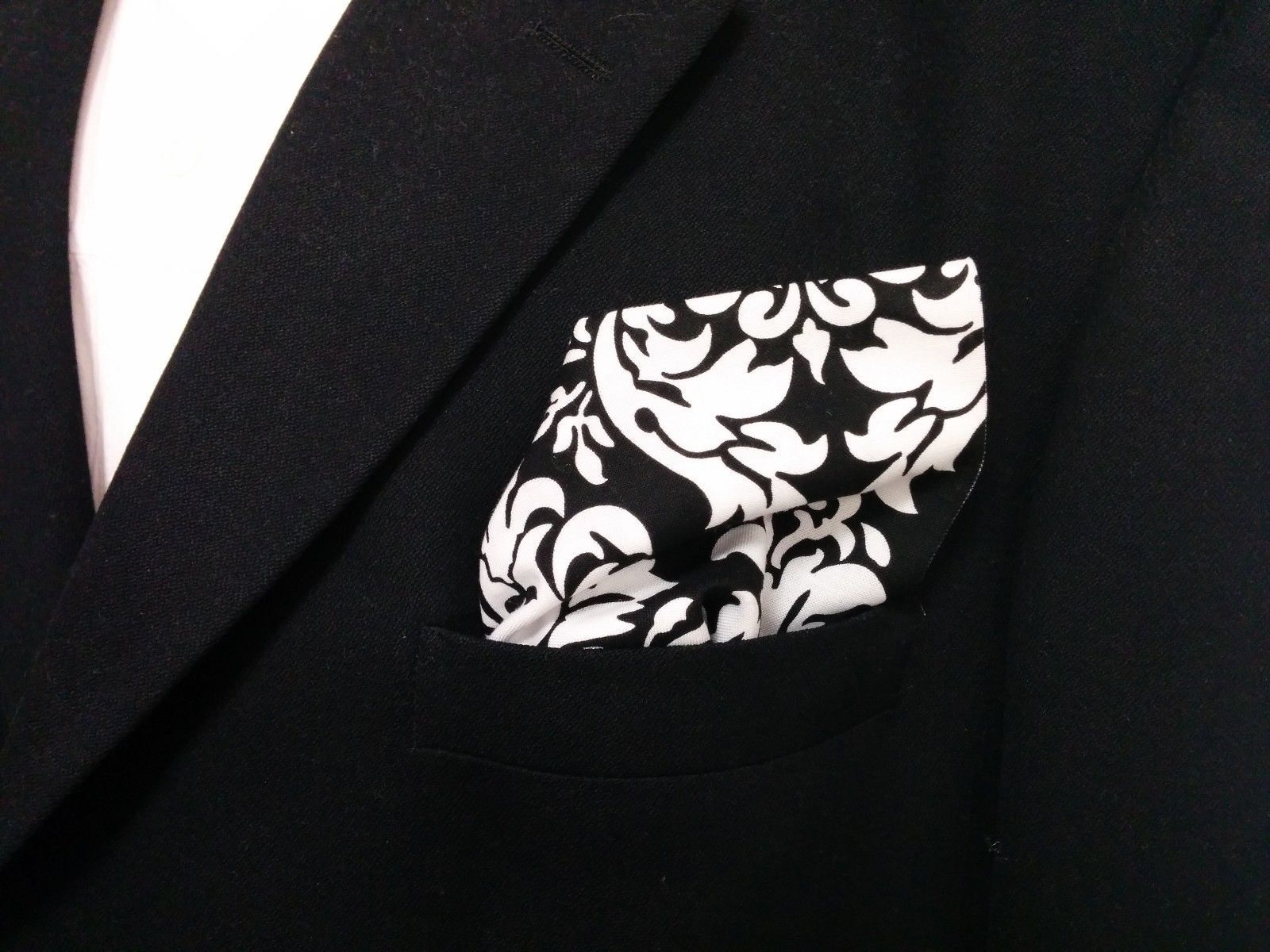 Damask Hanky Pocket Square Tuxedo Dandy Black White Wedding Bridal Groomsmen image 3