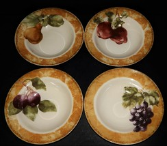 4 Cortland 222 Fifth by Cheri Blum Apple Pear Grape Fruit Cereal Bowls S... - $59.39