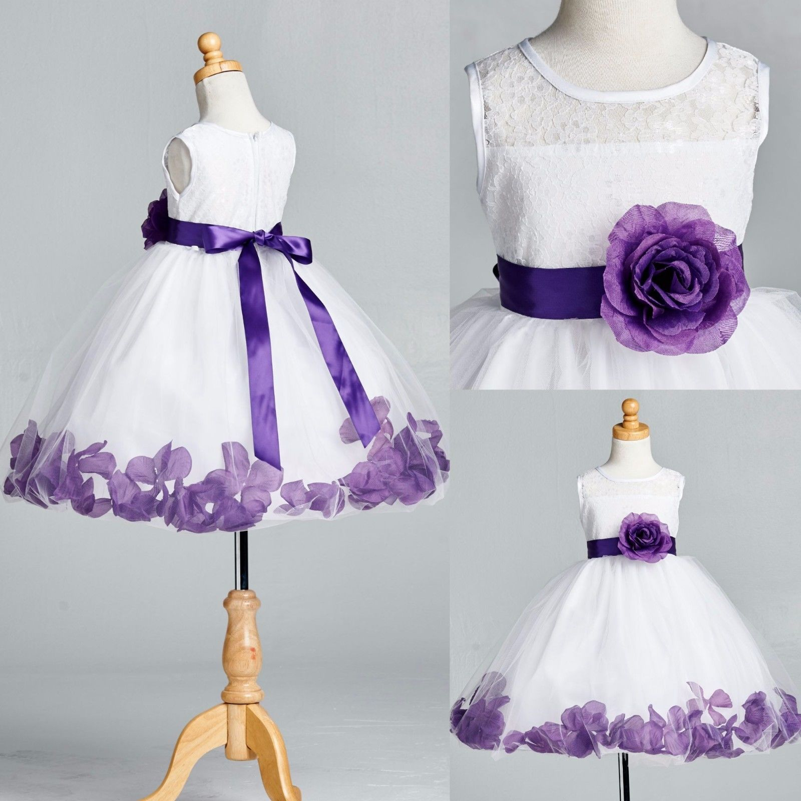 4bdd54e29 S l1600. S l1600. Previous. White Floral Lace Purple Rose Petal Tulle Dress  Flower Girl Easter ...