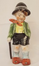 "Bisque Boy Hiker 8"" Figurine Ceramic Hiking Occupied Japan Hand Painted ... - $10.86"