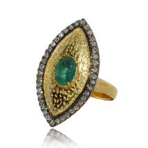 Pave Diamond Ring 92.5 Sterling Silver Evil Eye Design Wedding Jewelry - $91.00