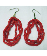 Earrings Red Faux Coral 2 1/2 in Great Color on wires Collector Special... - $29.95