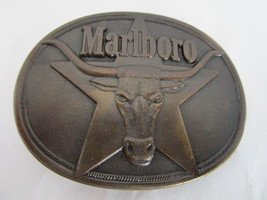 Marlboro Longhorn Oval Belt Buckle Solid Brass ... - $24.99