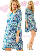Lilly Pulitzer Edna Hanging with Fronds Multi Pima Cotton Swing Shirt Dr... - $88.20