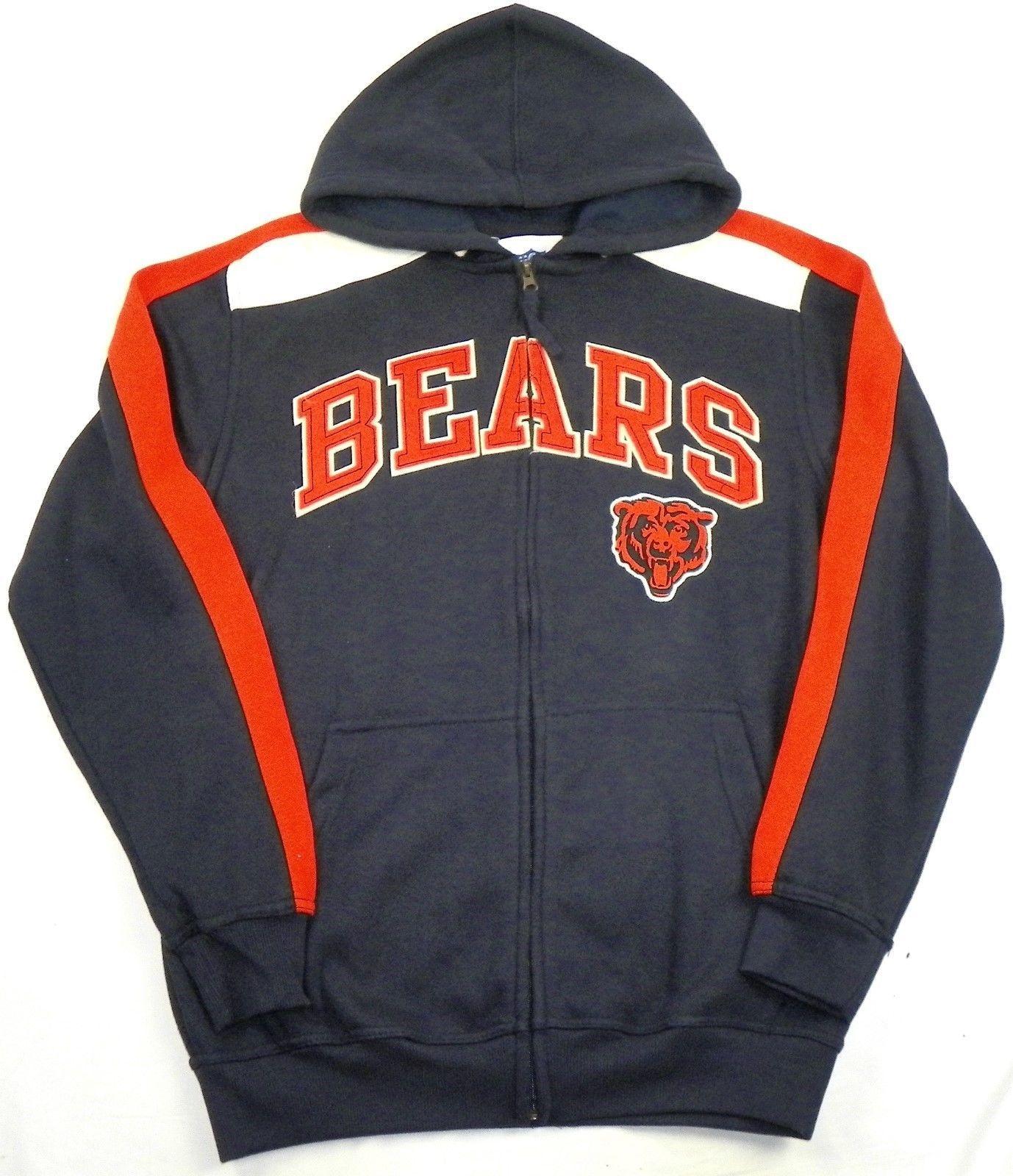 Medium Chicago Bears Hoodie Men's NFL Fan Favorite Full Zip Sweatshirt NEW