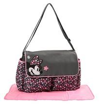 Disney Minnie Mouse Floral Print Diaper Bag with Minnie Applique on Flap... - $39.95