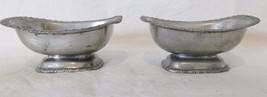Vintage Metal Pedestal Silver plated ? Nut Candy Finger Bowls Small Rect... - $18.46