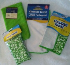 KITCHEN CLOTHS 5-pc SET Green Bubbles design Microfiber Towels Scrub Spo... - $9.99