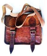 Men's Genuine Leather Small Brown Messenger Passport Bag Ipad Tablet Sat... - $59.80