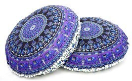 2 PC Elephant Mandala Tapestry Round Cushion Pillow Cover Floor Throw In... - €27,18 EUR