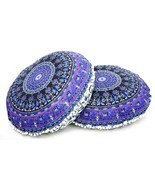 2 PC Elephant Mandala Tapestry Round Cushion Pillow Cover Floor Throw In... - $31.97