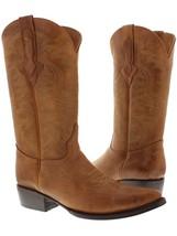 Mens Original Cognac Full Plain Leather Western Cowboy Boots - £81.26 GBP