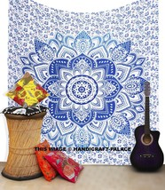 Blue Colour Ombre Mandala Cotton Hippie Beach Sheet Wall Decor Hanging T... - $21.49