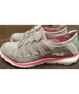 New Fila Slip on Shoes Sneakers w/ Memory Foam 6 Womens Gray Pink - $28.04
