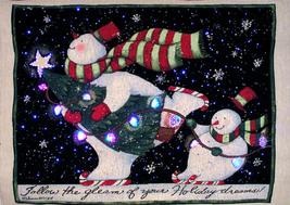 Wallhanging Fiber Optic Lighted Snowmen Skating By Susan Winget - $59.99