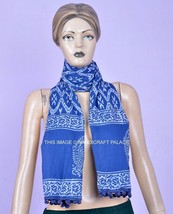 Indigo Cotton Blue Hand Block Print Scarf Indian Reversible Scarves Stol... - $20.80 CAD