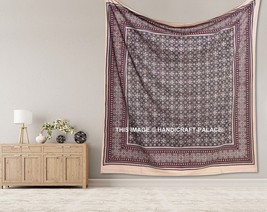 Indian Bohemian Ajrakh Print Mandala Wall Hanging Tapestry Queen Bedspre... - $432,92 MXN