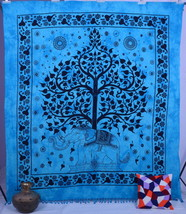 Indian Elephant Hippie Gypsy Tapestry Tree Of Life Wall Hanging Throw Be... - £17.68 GBP
