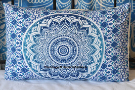 "Indian Blue Ombre Mandala Pillow Shams Throw Pillow Standard Size 18""28 ... - $9.49"