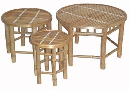 Bamboo Tiki Patio Deck 3 Piece Round Nesting Stool / Side Table Set - $114.95