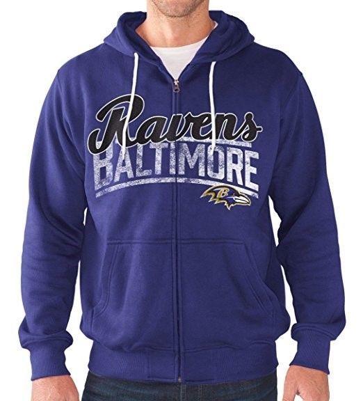 Baltimore Ravens Hoodie Men's NFL Swingman Full Zip Sweatshirt Football Hooded