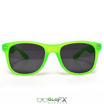 Green Sunglasses Black Tinted Lenses UV shades lime neon bright sun USA - $11.99