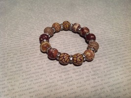 Light Brown Mocha Colored Beaded Bracelet w Silver Bands and Crystals