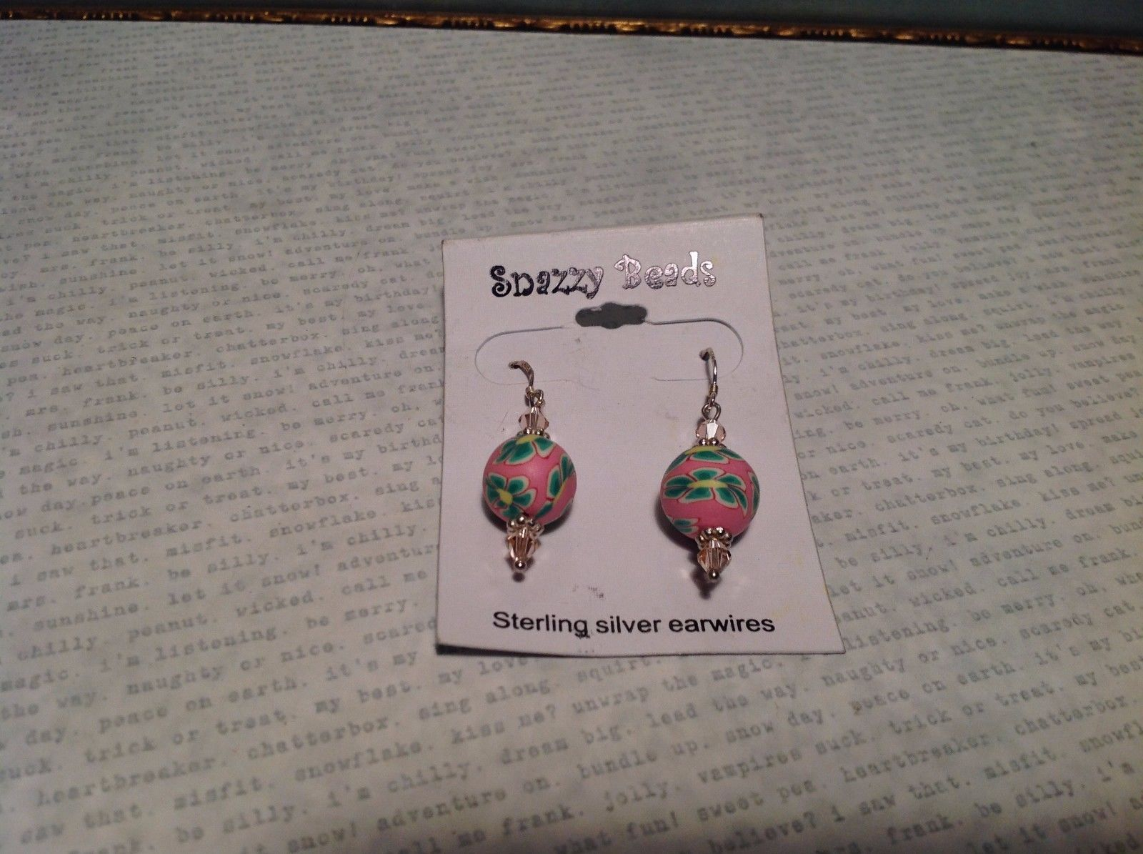 NEW Sterling Silver Pink and Green Beaded Earrings w Floral Pattern
