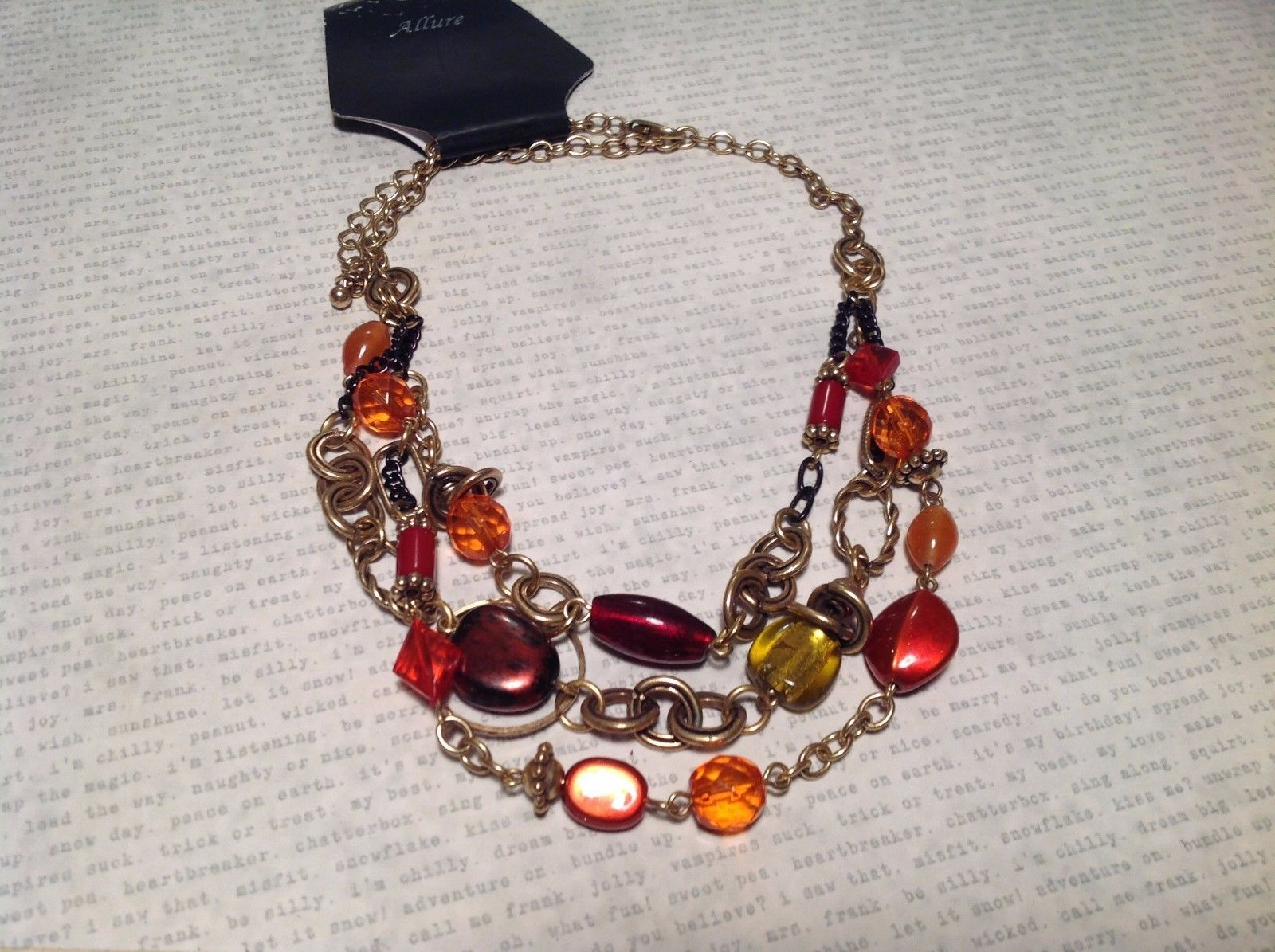 Gold tone Multistrand Necklace w Assorted Beads NEW