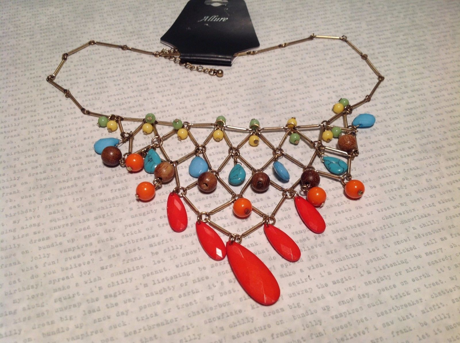 Goldtone Geometric Necklace w Multiple Colored Beads NEW