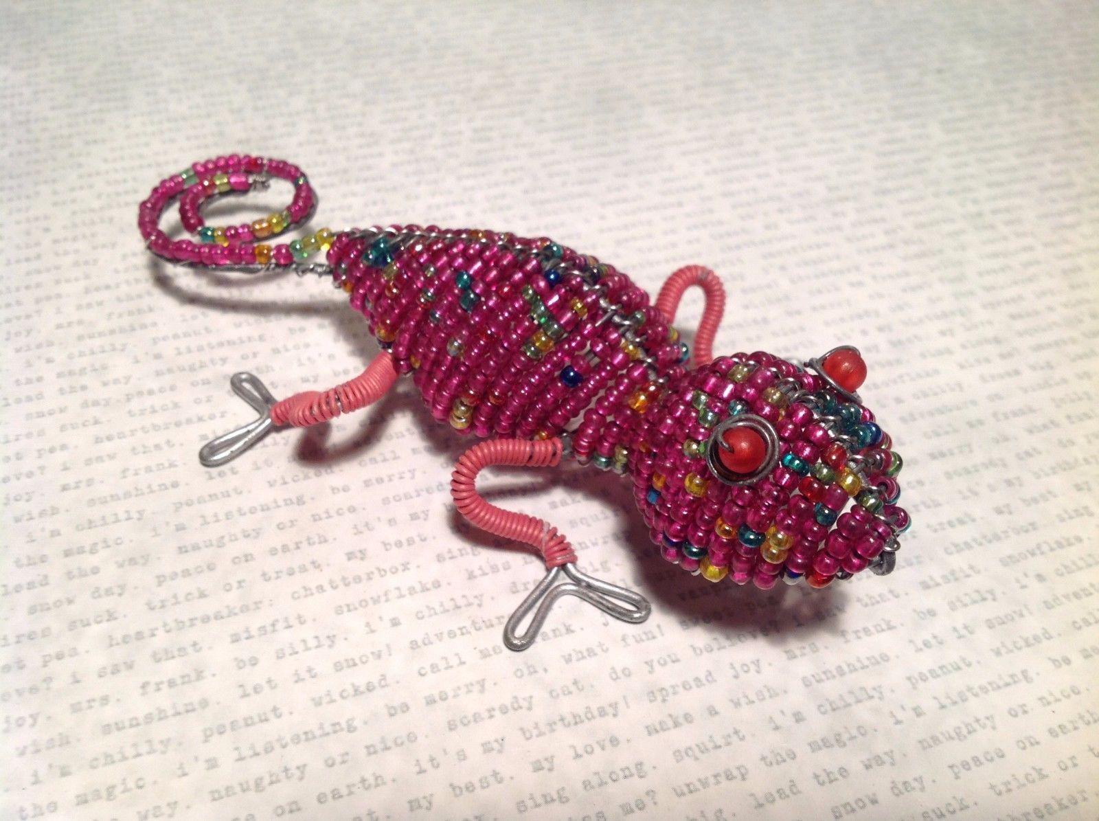 Pink Beadwork Gecko Iguana Wired Sculpture