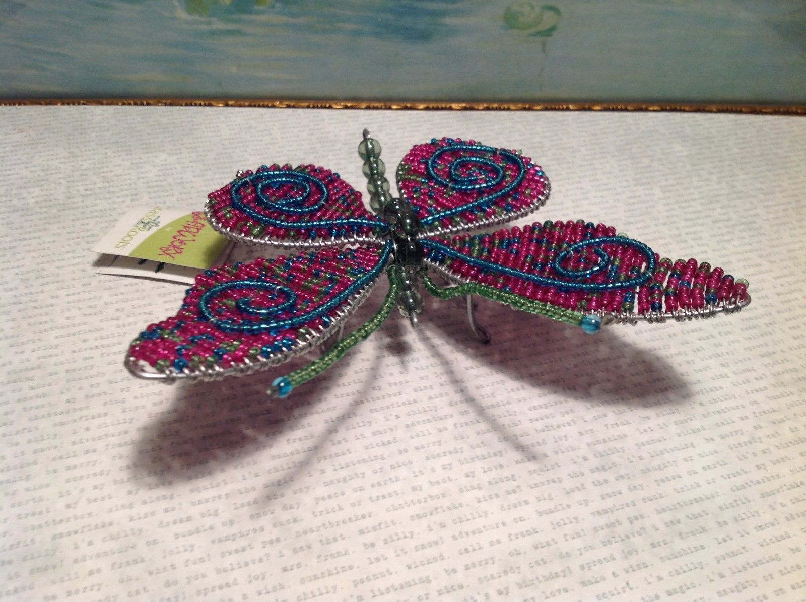 Pink and Blue Beadwork Butterfly Sculpture