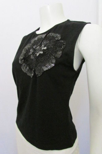 Valentino Women Black Cotton Fashion Tank Top Big Flower Cut Lace Sequins Large