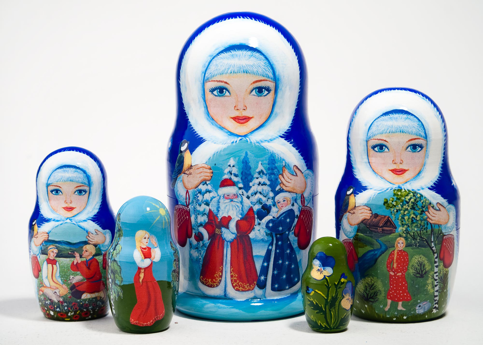 "Snow Maiden Fairy Tale Nesting Doll - 6"" w/ 5 Piece"