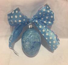 Glass Easter Egg Ornament Hand Inside Painted Swirl Blue White Optional Bow - $12.99