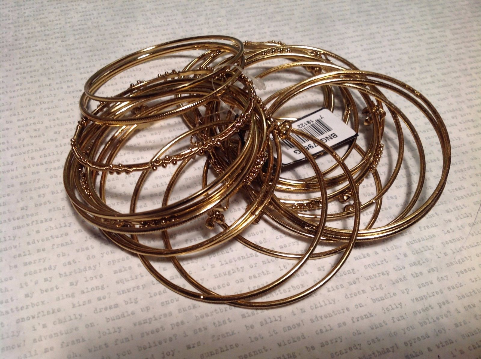 NEW 24 Pc Lot Gold Tone Bangle Bracelets