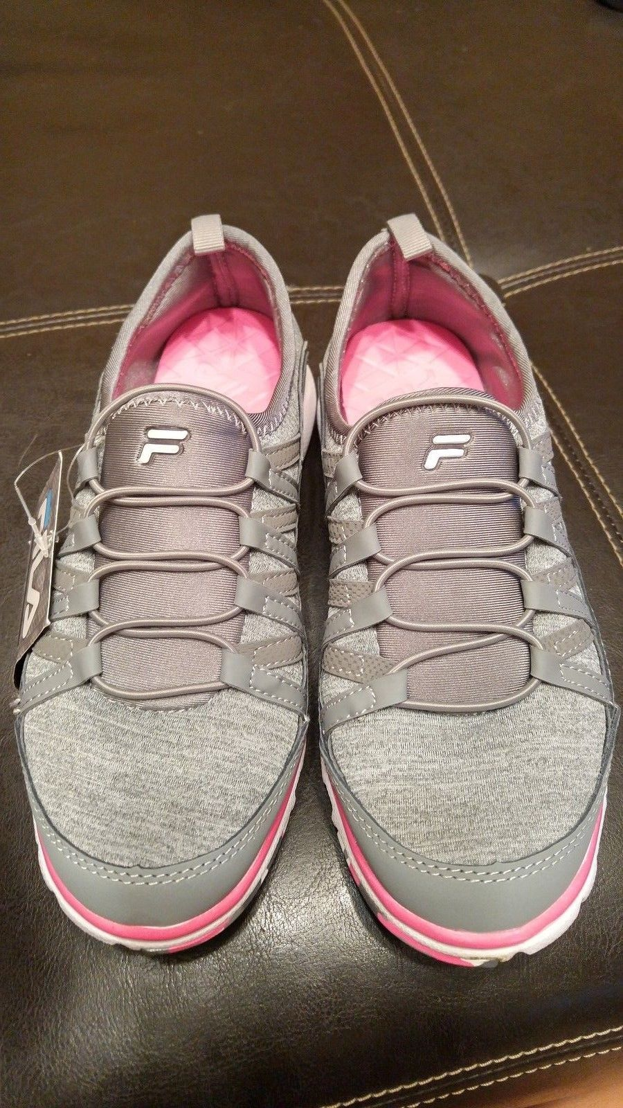 New Fila Slip on Shoes Sneakers w/ Memory Foam 6 Womens Gray Pink