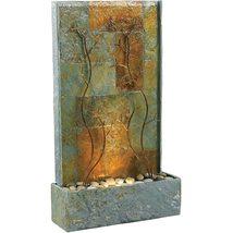 Water Fountain Indoor Feng Shui Floor Slate Metal Vine Foyer - $477.86