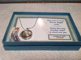 Silvertone Angel Locket Necklace w Faux Pearl