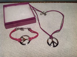 2pc Set of Hippie Peace Sign Leather Corded Necklace and Bracelet