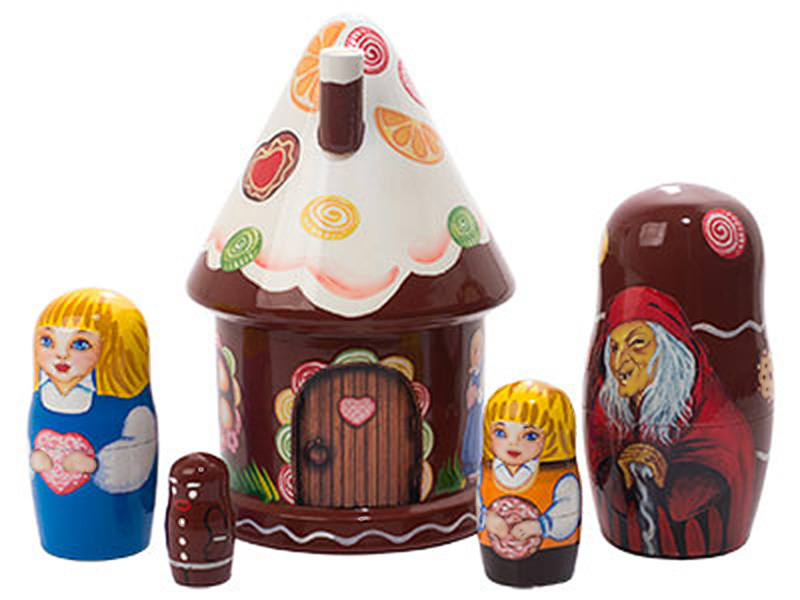 """Hansel and Gretel House Nesting Doll - 5"""" w/ 5 Pieces"""
