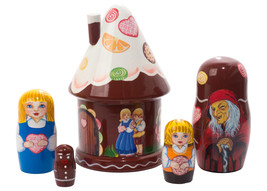 "Hansel and Gretel House Nesting Doll - 5"" w/ 5 Pieces - $56.00"