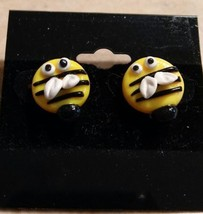 Bumblebee Stud Earrings Gold Tone Kids Clay Spring Insect - $6.00