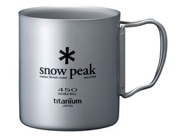 Snow Peak Titanium Double Wall Cup 300 with Folding Handle MG-053R - $91.22 CAD