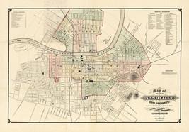 1877 Wall Map Nashville and Vicinity Art Poster Print Decor Vintage History - $13.00+